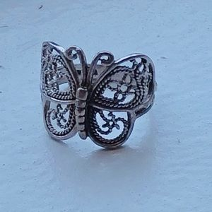 VINTAGE STERLING FILIGREE BUTTERFLY RING